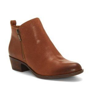 Lucky Brand Basel Booties Boots Toffee Leather NEW